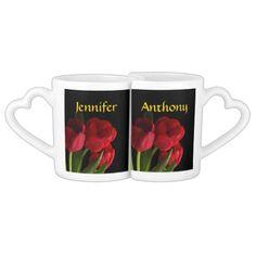Red Tulips Wedding Lovers Mugs #wedding gifts