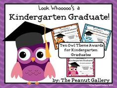 "This pack includes ten owl theme certificates for your kindergarten graduates. Each one says, ""Look Whooooo's a Kindergarten Graduate!""   Each of the ten certificates is featured in two styles- with a color background and without. These work well as certificates or diplomas for the last day of kindergarten. ($)"