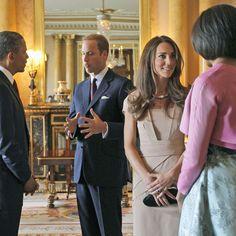 Barack Obama, Michelle, le prince William et Kate à Buckingham en mai 2011.
