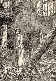 Jane Eyre F. Bedford, circa Jane is witness to a destroyed Thornfield Hall. Classic Literature, Classic Books, Charlotte Bronte Jane Eyre, 19th Century England, Bronte Sisters, Howls Moving Castle, Anne Of Green Gables, Great Friends, Jane Austen