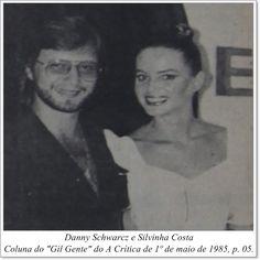"""Danny Schwarez e Silvinha Costa. Coluna Gil """"Gente"""" do A Crítica de 1º de maio de 1985"""