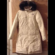 Authentic north face hyvent down parka Very warm perfect for winter...Excellent condition. Bought 2 years ago here, kept in storage, never wore it as its big on me. As per posher who sold it, she never wore it as arms too short on her.  Beige/cream colored. Definitely authentic. Fur hood not detachable. Hyvent. Trade value $200. North Face Jackets & Coats