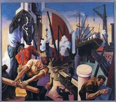 "Art for the Workers' Sake - The New York Times ""City Building"" from ""America Today"" Thomas Hart Benton's magisterial mural cycle at the Metropolitan Museum of Art. American Realism, American Artists, Thomas Hart Benton Paintings, Harry Truman, Jackson Pollock, Kansas City, Art Thomas, Art Gallery, Art Moderne"