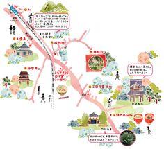 A-2.デザインマップ - 地図作成専門のワークスプレス Travel Illustration, Watercolor Illustration, Mental Map, Map Projects, Map Design, Ink Illustrations, Travel Maps, Antique Maps, Map Art