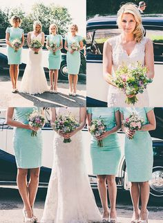 Mint bridesmaids and garden flowers