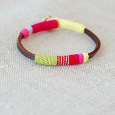 Leather & crochet cotton striped friendship bracelet by kjoo, $45.00