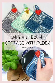 New to Tunisian crochet? No problem! Get started with this easy Tunisian Crochet Cottage Potholder. Works up fast and no need for special hooks. Tunisian Crochet Patterns, Crochet Patterns For Beginners, Knitting Patterns, Hand Crochet, Crochet Hooks, Free Crochet, Baby Blanket Crochet, Crochet Baby, Crochet Potholders