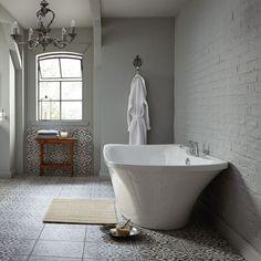 grey flooring Love these floor tiles from the bath store for. Black And White Bathroom Floor, Grey Bathroom Tiles, Bath Tiles, Wooden Bathroom, Grey Bathrooms, Bathroom Flooring, Bathroom Wall, Family Bathroom, Gray Tiles