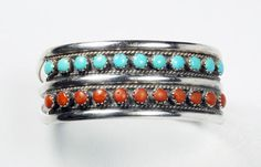 In #CherryOrchardAttic on #Etsy Vintage Zuni Sterling Silver Double Raw Snake Eye Turquoise Coral Cuff Bracelet #jewelry #vintagejewelry #nativeamericanjewelry #ZuniCuff #Bracelet #ZuniJewelry #SnakeEye #sterlingsilvercuff #Turquoise #coral #cuff #silvercuff #smallcuff #zuni