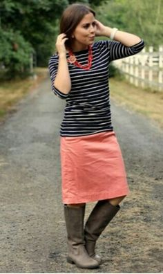 Modest out fit: Coral skirt navy stripe shirt brown boots