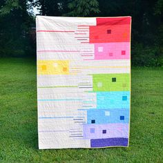 Modern Quilt, Rainbow Quilt, Bright Lap Quilt, Rainbow, Contemporary Quilt