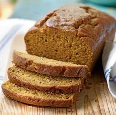 Healthy-ish Pumpkin Bread Recipe! No sugar.  1 1/2 cups whole wheat flour  1 1/2 tsp cinnamon 1 tsp ground ginger 1/8 teaspoon cloves 1 tsp baking soda 1/4 tsp baking powder 1/2 tsp salt 2 eggs 1/2 cup oil (coconut is healthy option) 1/2 cup honey (we added a bit more...) 1/8 cup blue agave (optional) 1/2 tsp vanilla 1 cup pumpkin puree  Whisk dries down to salt. Add wets and stir with form. Fold in the pumpkin and add to greased loaf pan or lined muffin pan.  1 loaf, 350 degrees, 30-40 min