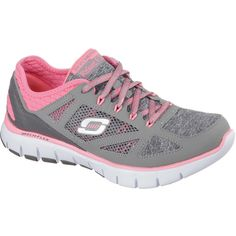 Skechers Style Source Lace-Up Training Shoes ($70) ❤ liked on Polyvore featuring shoes, athletic shoes, flexible shoes, athletic training shoes, lace up shoes, skechers footwear and laced shoes