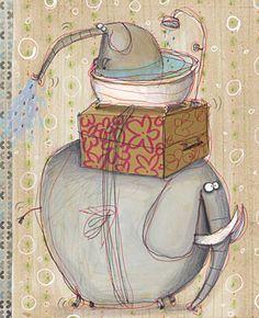 :: Sweet Illustrated Storytime :: Illustration by Anna Laura Cantone Image Elephant, Elephant Love, Elephant Art, Elephant Stuff, Elephant Illustration, Children's Book Illustration, Illustration Animals, Illustration Styles, Elephants Never Forget