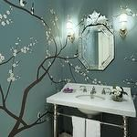 Graciela Rutkowski Interiors - bathrooms - sakura, tree mural, blue, wallpaper, venetian, mirror, marble, washstand, polished nickel, sconces, faucet,