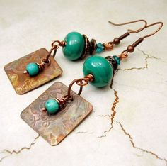 Lampwork Earrings Antique Copper Beaded Jewelry Boho Long Dangle Turquoise Teal 'Before the Rain' on Etsy, $28.00