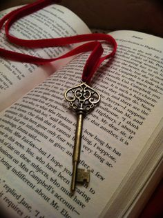 Vintage style Heart Skeleton Key Ribbon Bookmark by Mountainflowr