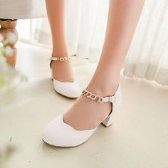 Women's Chunky Heel Round Toe Pumps Shoes (More Colors) – AUD $ 36.10