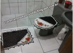 Artesanatos em Crochê Vanda: JOGO PARA BANHEIRO DE CROCHÊ COM FLORES 3 PEÇAS COM GRÁFICO