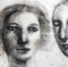 Black and white, charcoal, pastel, pencil, graphite, portrait, him and her, closeup of faces / Art