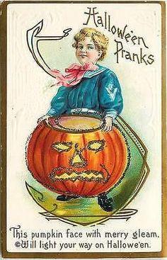Halloween Pranks 1912 Jack O Lantern Boy Sailor Embossed Vintage Postcard…