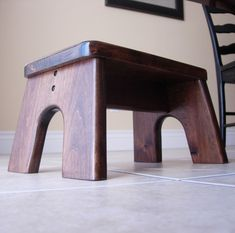 Step Stool, Wooden, Wood, Alder, Stained, Dark, Walnut, Kids Tip-resistant…