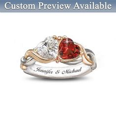 Bradford Exchange - Two Hearts, One Love Heart-Shaped Personalized Ring: Romantic Jewelry Gift