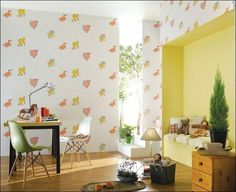 Decoration, Modern Kids Study Room Decorated With Luxurious Wallpaper That Designed With Animal Cartoon Motifs Also Equipped With Nice Study Bench 569: Pleasurable Interior Decorations by Sweet Wallpaper Styles