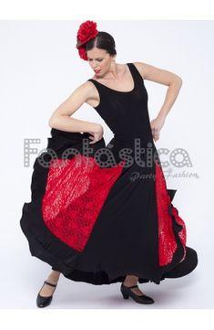 dc92b6976 Vestido de Flamenca   Sevillana para Mujer con Encaje Color Negro y Rojo