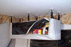 Pop Up Trailer Storage: Hanging Pantries and Hanging Storage for Trailers - Camping and Trailer Living Tent Trailer Camping, Pop Up Tent Trailer, Rv Travel Trailers, Trailer Storage, Tent Campers, Camper Storage, Camping Car, Camper Trailers, Camping Ideas