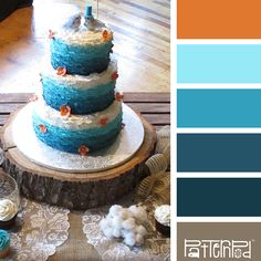 Color Palette: Brown, Blue, Orange.  If you like our color inspiration sign up for our monthly trend letter - click the image for the link.