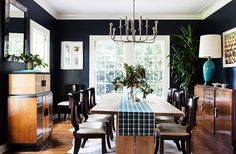 black dining room, casual