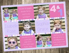 Joint Twin 6 Photo Birthday Invitation  Double by CustomPartyDecor, $19.00