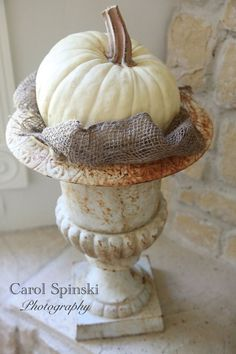 Simple white pumpkin in a rusty urn, from the fabulous Raised In Cotton, Carol Spinski holiday, burlap, urn, pumpkinssimpl centerpiec, thanksgiv, fall decor, autumn, white pumpkins, halloween