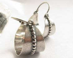 Sterling Silver Hoop Earrings Oval Sterling Hoops Textural
