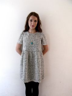 90s grunge floral smock dress ditsy floral print black by luminia, £39.00