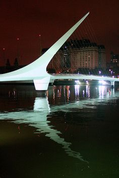 The Puente de la Mujer, designed by Santiago Calatrava, is a footbridge in the Puerto Madero district of Buenos Aires, Argentina.