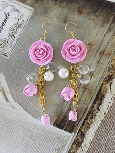 Earings with hand-made polymer clay roses