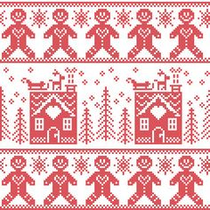 Vector: Scandinavian Nordic Christmas seamless pattern with gingerbread man , stars, snowflakes, ginger house, trees, xmas gifts, reindeer, sleigh, snow in red cross stitch