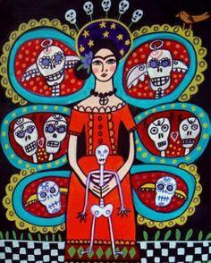 Frida from Heather Galler Art, via Etsy Frida Kahlo Diego Rivera, Art Encadrée, Frida Art, Tree Of Life Art, Day Of The Dead Art, Dachshund Art, Ceramic Coasters, Mexican Folk Art, Mexican Skulls