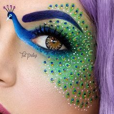 This detailed peacock eye makeup would be a great alternative to a Halloween costume.