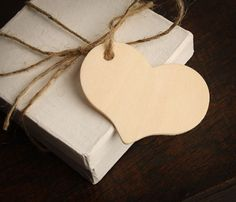 Unfinished Wood Heart Tags