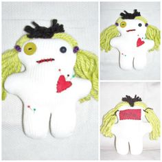 A Whole LOTTA VooDoo Doll Halloween Green White Voo Doo Doll by Eerie-Beth by FosterChildWhimsy on Etsy