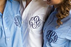 Bridal Party Wedding Day Shirts  - Monogrammed Button Down Oxford - bridesmaid gifts