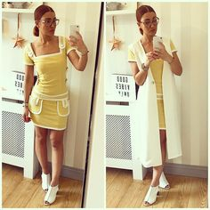 Danielle French ✨ (@itsdaniellesjourney) • Instagram photos and videos  Danielle wearing our Twiggy dress! https://www.alicespig.com/products/1960s-yellow-white-mod-twiggy-mini-dress-vintage-style?utm_content=buffer516ee&utm_medium=social&utm_source=pinterest.com&utm_campaign=buffer  Vintage style yellow and white retro dress Twiggy inspired