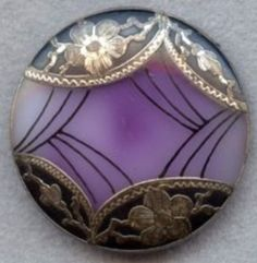 Victorian button, glass w/metal overlay