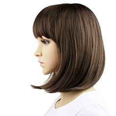 Beautiful and natural~ MelodySusie Short Light Brown With Neat Bangs Stunning Wig Full Wig