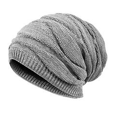 09cd347711f The perfect QNLYCZY Mens Winter Plus Velvet Warm Knitting Hats Wool Baggy  Slouchy Beanie Hat Skull