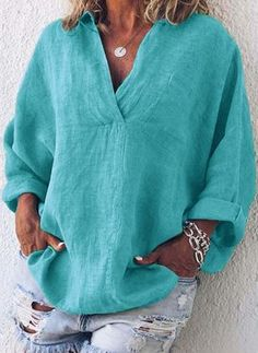 Casual Long Sleeve Cotton-Blend Plain Plus Size Blouses – chililook Casual Tops For Women, Blouses For Women, Cotton Blouses, Shirt Blouses, Cotton Linen, Collar Shirts, Cotton Shirts, Tops Boho, Bohemian Blouses