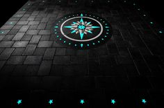 """Glowing pavers Compass Rose design and walkway! Paverart """"AFTER ."""
